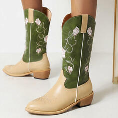 Women's PU Chunky Heel Boots Mid-Calf Boots Pointed Toe With Splice Color Floral Embroidery shoes