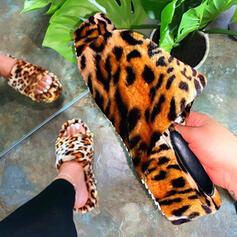 Vrouwen Nep bont Flat Heel Sandalen Peep Toe met Bont schoenen
