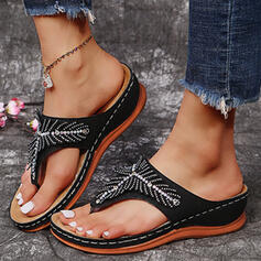 Women's PU Wedge Heel Sandals Wedges Flip-Flops Slippers With Rhinestone Solid Color shoes