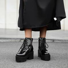 Vrouwen PU Chunky Heel Enkel Laarzen Ronde neus met Rits Vastrijgen schoenen