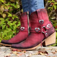 Vrouwen PU Chunky Heel Half-Kuit Laarzen Ronde neus met Gesp Rits schoenen