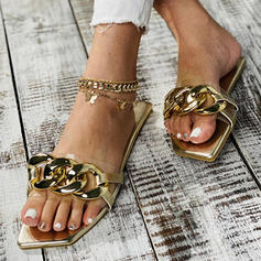 Women's PU Flat Heel Sandals Flats With Chain shoes
