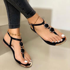 Women's PU Flat Heel Sandals Flats Flip-Flops shoes