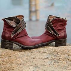 Vrouwen PU Chunky Heel Enkel Laarzen met Gesplitste Stof schoenen