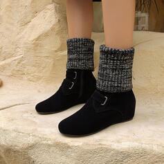 Vrouwen Suede Chunky Heel Half-Kuit Laarzen Ronde neus met Rits schoenen