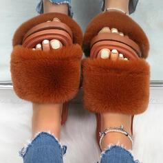 Women's Fake fur Flat Heel Pumps Peep Toe With Faux-Fur shoes