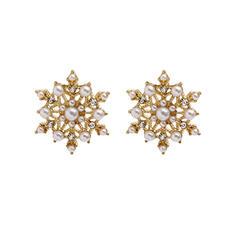 Snowflake Alloy Rhinestones Imitation Pearls Women's Earrings 2 PCS