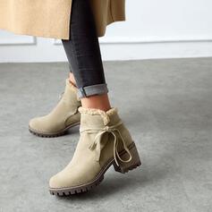 Vrouwen Kunstleer Chunky Heel Enkel Laarzen Ronde neus met Effen kleur schoenen