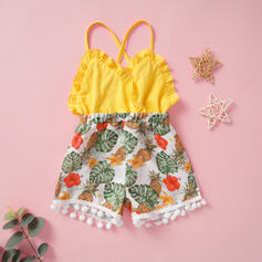 Baby Girl Pom pom decor Ruffle Floral Print Cotton Jumpsuit