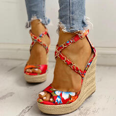 Women's Satin Wedge Heel Sandals Wedges Peep Toe Heels With Satin Flower shoes