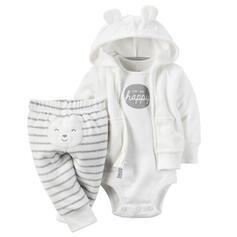 3-pieces Baby Cartoon Striped Cotton Set