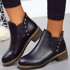 Women's PU Chunky Heel Ankle Boots Round Toe Chelsea Boots With Solid Color shoes