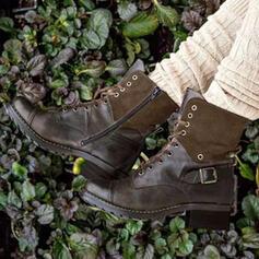 Vrouwen PU Low Heel Enkel Laarzen Rijlaarzen Ronde neus met Gesp Vastrijgen schoenen