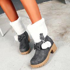 Vrouwen PU Chunky Heel Enkel Laarzen Ronde neus met strik Rits schoenen