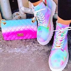 Vrouwen Microfiber Chunky Heel Martin Boots Ronde neus met Rits Vastrijgen Las kleur schoenen