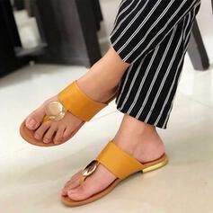 Vrouwen PU Flat Heel Sandalen Peep Toe met Klinknagel Hol-out schoenen