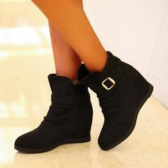Vrouwen Kunstleer Flat Heel Enkel Laarzen Ronde neus met Rits Effen kleur schoenen