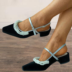 Women's Microfiber Chunky Heel Pumps Heels Pointed Toe With Imitation Pearl shoes