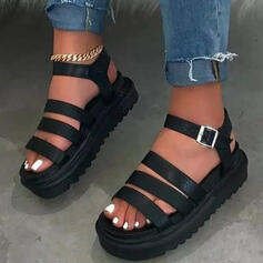 Vrouwen Kunstleer Flat Heel Sandalen Flats Plateau Peep Toe met Gesp schoenen