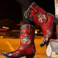 Vrouwen PU Chunky Heel Half-Kuit Laarzen Ronde neus met Klinknagel Las kleur Geborduurd schoenen