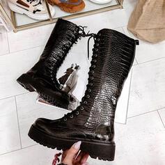 Vrouwen PU Chunky Heel Knie Lengte Laarzen Rijlaarzen Ronde neus met Rits Vastrijgen schoenen