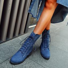 Vrouwen Jean Chunky Heel Enkel Laarzen Ronde neus met Effen kleur schoenen