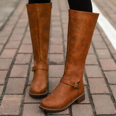 Women's PU Chunky Heel Boots Knee High Boots With Buckle Zipper Solid Color shoes