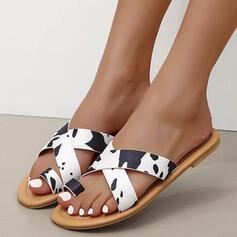 Women's PU Flat Heel Sandals Flats Peep Toe Slippers Toe Ring Round Toe With Animal Print Crisscross shoes