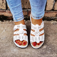 Women's PU Flat Heel Sandals Slippers With Hollow-out shoes