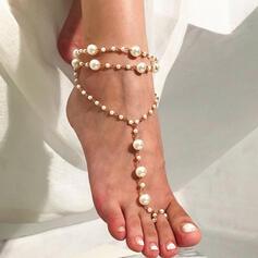 Charme Legering met Imitatie Parel Strand sieraden Enkelbanden