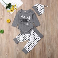 3-pieces Baby Boy Letter Animal Print Cotton Set