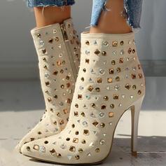 Vrouwen PU Stiletto Heel Half-Kuit Laarzen Puntige teen met Strass Rits schoenen