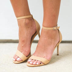 Women's PU Stiletto Heel Sandals Peep Toe With Buckle Hollow-out Bandage shoes