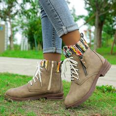 Vrouwen Microfiber Low Heel Enkel Laarzen Martin Boots Ronde neus met Rits Vastrijgen Las kleur schoenen