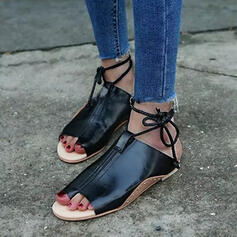 Women's PU Flat Heel Sandals Peep Toe With Lace-up Hollow-out shoes