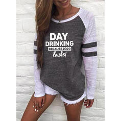 Print Color Block Figure Round Neck Long Sleeves Casual T-shirts