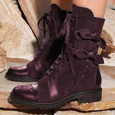 Vrouwen Microfiber Chunky Heel Half-Kuit Laarzen Rijlaarzen Ronde neus met Vastrijgen Gesplitste Stof Las kleur schoenen