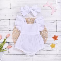 2-pieces Baby Girl Ruffle Solid Cotton Set