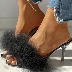 Women's Fake fur Stiletto Heel Sandals Peep Toe With Faux-Fur shoes