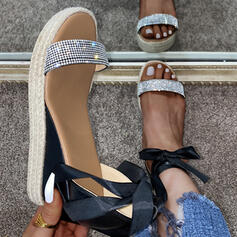 Women's PU Wedge Heel Sandals Wedges With Rhinestone Lace-up shoes