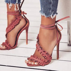 Women's PU Stiletto Heel Sandals Pumps Peep Toe With Lace-up Hollow-out shoes