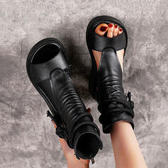 Women's PU Wedge Heel Peep Toe High Top Round Toe With Lace-up shoes
