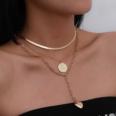 Fashionable Sexy Vintage Classic Alloy With Heart Women's Ladies' Necklaces 3 PCS