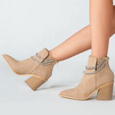 Women's Suede Chunky Heel Closed Toe Boots Ankle Boots Winter Boots With Chain Solid Color shoes