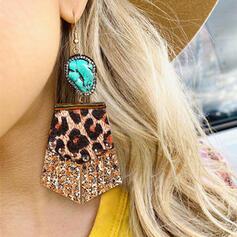 Shining Leopard Alloy Rhinestones Turquoise Leather Women's Earrings 2 PCS