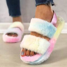 Vrouwen Flat Heel Sandalen Plateau Peep Toe Slippers met Bont schoenen
