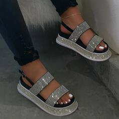 Vrouwen PU Flat Heel Sandalen Plateau Peep Toe met Strass schoenen