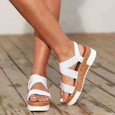 Vrouwen Kunstleer Flat Heel Sandalen Plateau Peep Toe met Hol-out schoenen