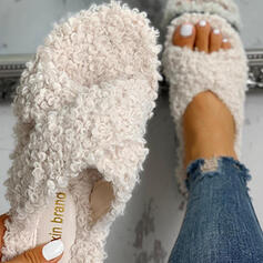 Women's Fabric Flat Heel Slippers With Faux-Fur Others shoes