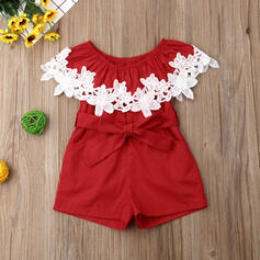 Baby Girl Ruffle Lace Cotton Jumpsuit